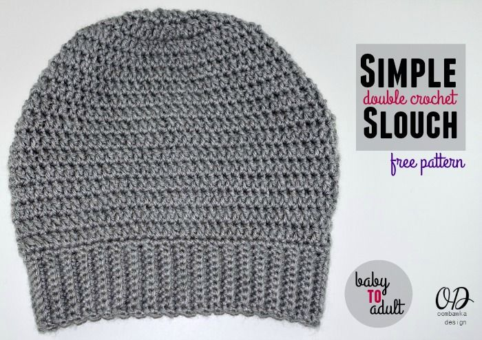 Double Crochet Slouch Hat Free Pattern Adult Medium Gray Slouch