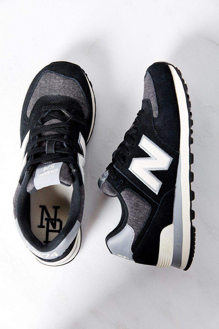 new balance 574 black & tan trainers
